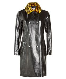 SHRIMPS | Faux Leather Coat With Printed Faux Fur Collar Gr. Uk 12