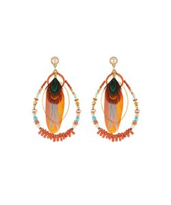 GAS BIJOUX | Aurore Beaded Earrings With Feather And Pearl Gr. One