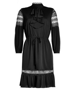 Anna Sui | Crepe Dress With Lace Panels Gr. Us 6