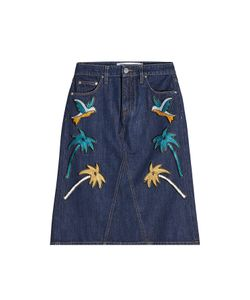 Victoria, Victoria Beckham | Embroidered Denim Skirt Gr. Uk 4