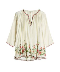 Mes Demoiselles | Embroidered And Printed Cotton Top Gr. 1