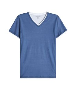 Majestic | Layered Cotton T-Shirt With V-Neckline Gr. Xl