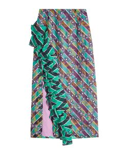 Marco De Vincenzo | Printed Silk Skirt With Flutter Hem Gr. It 38