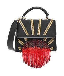 Les petits joueurs | Embellished Satin Shoulder Bag With Leather Gr. One Size