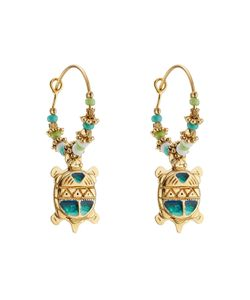 GAS BIJOUX | Tartaruga 24k Plated Earrings With Glass Rocailles Gr. One