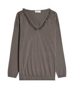 Brunello Cucinelli | Cotton Pullover With Fringing Gr. Xl