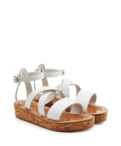 K. Jacques | Leather Sandals With Espadrille Wedge Gr. It 36