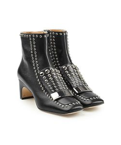 Sergio Rossi | Embellished Leather Ankle Boots Gr. It 38