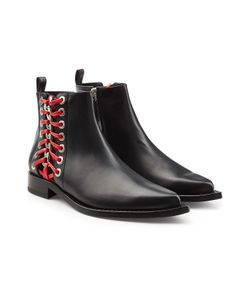 Alexander McQueen   Leather Ankle Boots With Lace-Up Side Gr. It 36