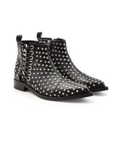 Alexander McQueen   Embellished Leather Ankle Boots With Lace-Up Side Gr. It 36