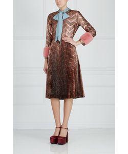 Gucci | Платье Из Люрекса С Отделкой Из Меха Норки
