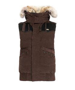 Nobis | Велюровый Пуховой Жилет С Капюшоном И Мехом Койота Vest Nobisfw