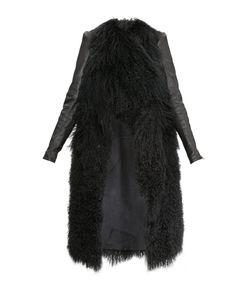 Plein Sud   Пальто Из Меха Ламы С Кожаной Отделкой Sf-17m05
