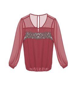 Gaudi | Блуза Из Искусственного Шелка С Бисером И Кристаллами Be-183701