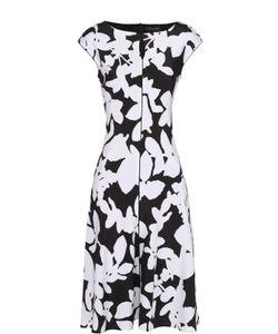 St. John | Приталенное Шелковое Платье С Контрастным Принтом