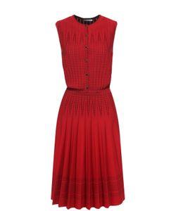 Alexander McQueen | Приталенное Платье Без Рукавов С Юбкой В Складку