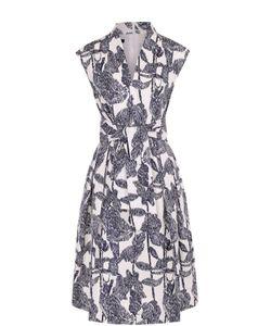 Escada | Приталенное Платье С Контрастным Принтом И Поясом