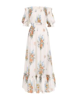Alexander McQueen | Шелковое Платье С Цветочным Принтом И Открытыми Плечами
