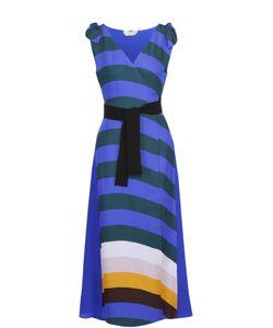 Fendi | Шелковое Платье В Контрастную Полоску С Запахом