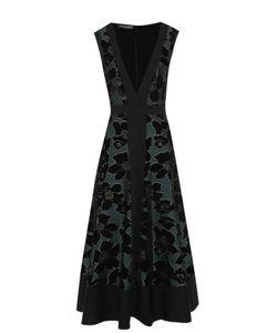 Alexander McQueen   Приталенное Платье-Миди С Глубоким V-Образным Вырезом