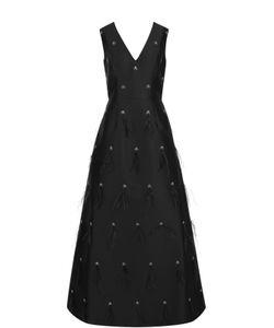 St. John   Приталенное Платье-Макси С V-Образным Вырезом