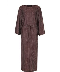 The Row | Шелковое Платье В Полоску С Поясом И Высокими Разрезами