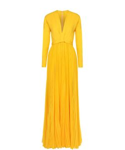 Dsquared2 | Шелковое Платье-Макси С Плиссированной Юбкой И Высоким Разрезом