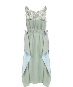 Fendi | Шелковое Платье С Оборками И Кружевной Отделкой