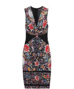 Roberto Cavalli | Платье-Футляр С Цветочным Принтом И V-Образным Вырезом