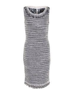 St. John | Буклированное Приталенное Платье С Бахромой