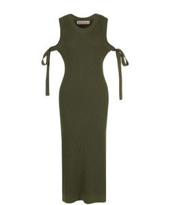 Marni | Вязаное Платье С Открытыми Плечами И Высокими Разрезами