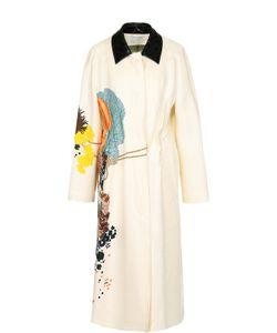 Dries Van Noten   Льняное Пальто Прямого Кроя С Цветочным Принтом