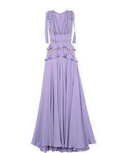 Elie Saab | Шелковое Платье-Макси С Подолом И Кружевной Отделкой