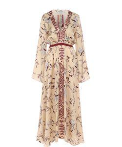 Forte Forte | Шелковое Платье-Миди С Принтом И V-Образным Вырезом