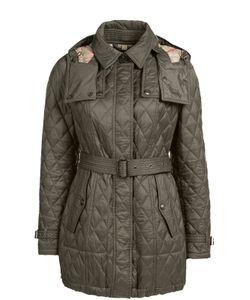 Burberry Brit | Стеганая Удлиненная Куртка С Поясом И Капюшоном