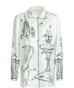 Dolce & Gabbana | Шелковая Блуза В Пижамном Стиле С Контрастным Принтом