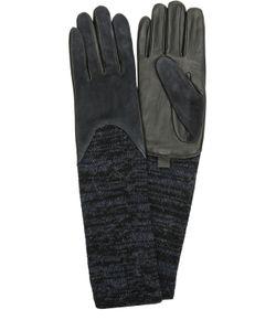 Agnelle | Кожаные Перчатки С Отделкой Из Замши И Вязаными Манжетами