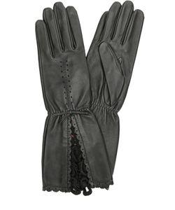 Agnelle | Кожаные Перчатки С Кружевной Отделкой