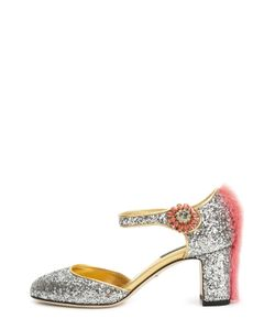 Dolce & Gabbana | Туфли Vally С Глиттером С Меховой Отделкой