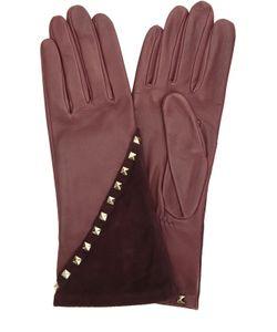 Agnelle | Кожаные Перчатки С Отделкой Из Замши И Заклепками