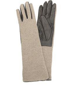 Sermoneta Gloves | Кожаные Перчатки С Отделкой Из Вязаного Полотна