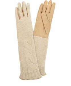Sermoneta Gloves | Удлиненные Кожаные Перчатки С Отделкой Из Вязаного Полотна