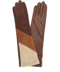 Agnelle | Удлиненные Кожаные Перчатки С Отделкой Из Замши