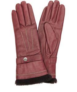 Agnelle | Кожаные Перчатки С Отделкой Из Меха Кролика И Декоративной Прострочкой
