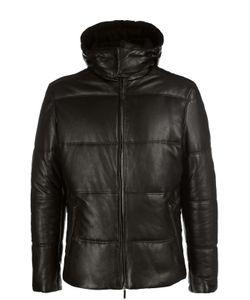 BOSS | Утепленная Кожаная Куртка С Капюшоном