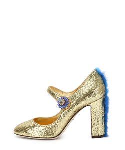 Dolce & Gabbana | Туфли Vally С Глиттером И Меховой Отделкой