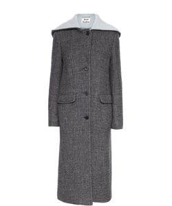 Acne | Удлиненное Шерстяное Пальто С Капюшоном