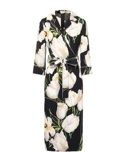 Dolce & Gabbana | Платье С Запахом В Пижамном Стиле С Цветочным Принтом Dolce