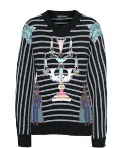 Dolce & Gabbana | Кашемировый Пуловер Свободного Кроя С Разноцветной Вышивкой