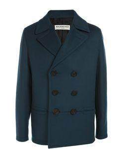 Balenciaga | Двубортное Шерстяное Пальто С Отложным Воротником